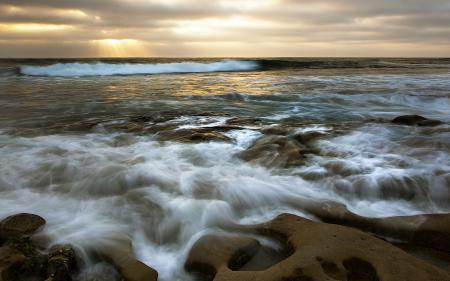 Заставки море, скалы, закат, природа