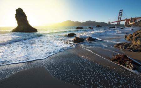 Обои утро, мост, пейзаж