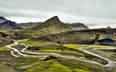 Обои горы, долина, река, природа