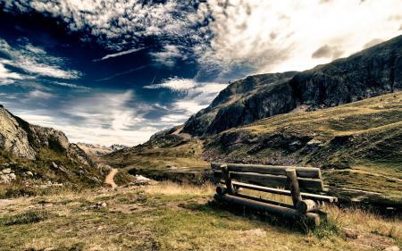 Обои скамья, горы, небо, пейзаж