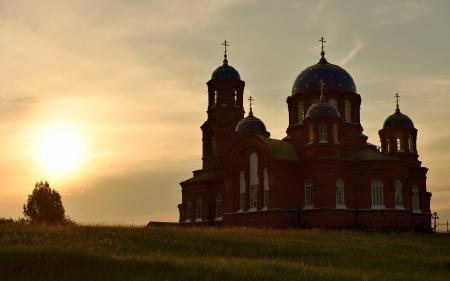Фотографии закат, храм, пейзаж, красота