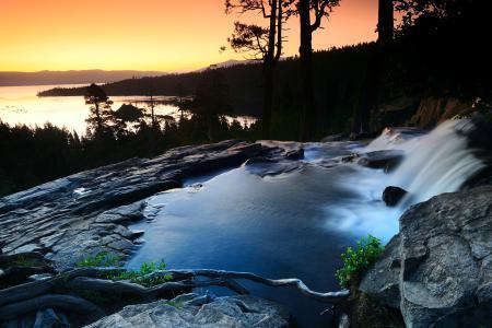 Картинки река, поток, камни, вечер