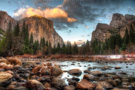 Фотографии Национальный парк Йосемити, Yosemite National Park, горы, река