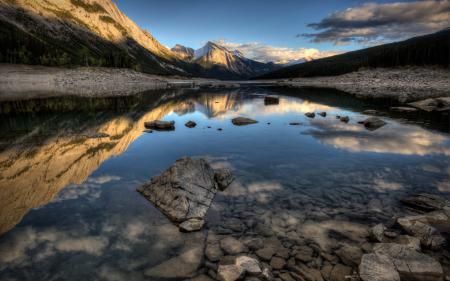 Обои утро, озеро, горы, пейзаж