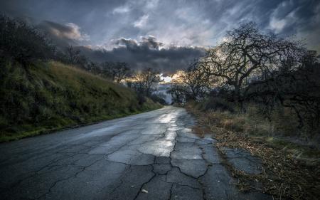 Заставки дорога, ночь, пейзаж