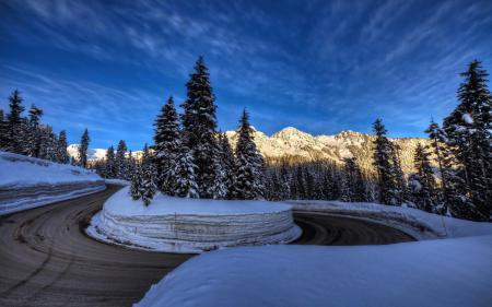 Обои дорога, зима, горы, пейзаж