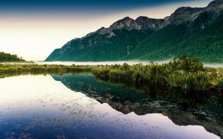 Фотографии озеро, вода, отражение, дымка