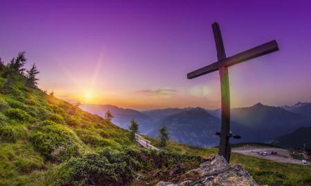 Фотографии горы, вершина, рассвет, крест