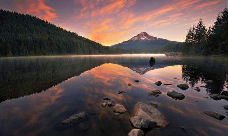 Фото горы, лес, рассвет, пристань