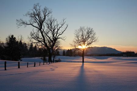 Картинки закат, зима, поле, природа