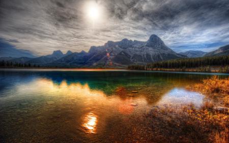 Фото водоём, озеро, лес, горы
