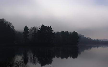 Фото осень, река, деревья, туман