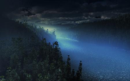 Заставки лес, ночь, река, cg