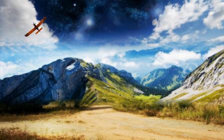 Фото Горы, скалы, самолет, небо
