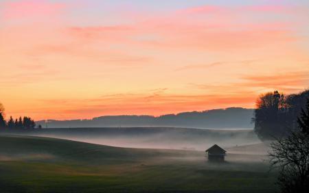 Фотографии пейзажи, утро, туман, поле
