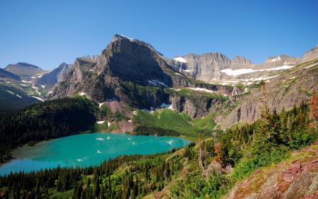 Заставки природа, вид, озеро, горы