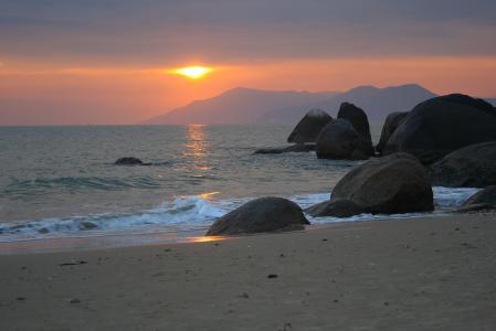 Обои вечер, море, валуны, закат