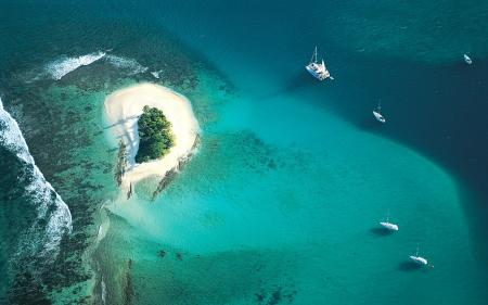 Фото океан, атолл, песок, деревья