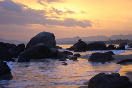 Картинки море, вечер, рыбаки, рыбалка