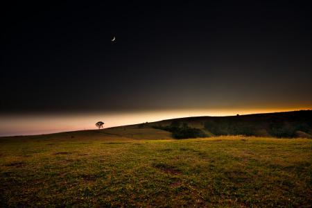 Фотографии ночь, поле, месяц, закат