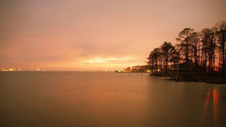 Фотографии пейзаж, река, деревья, закат