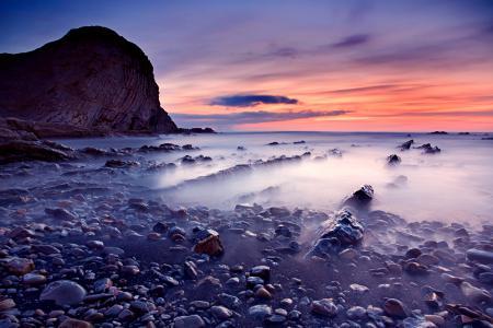 Заставки море, камни, закат, скала