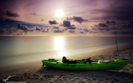 Картинки закат, море, лодка, пейзаж