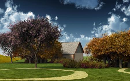 Обои дом, осень, аллея