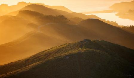 Заставки холмы, река, утро, свет