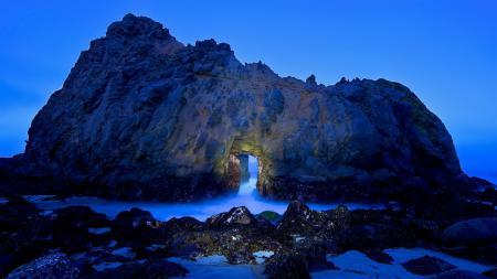 Обои море, скалы, грот, природа