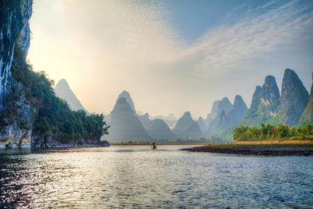 Заставки горы, река, лодка
