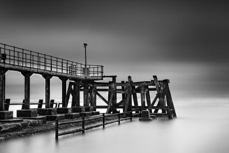 Фотографии мост, море, туман, пейзаж