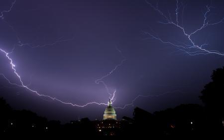 Фотографии ночь, молнии, Вашингтон