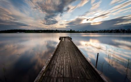 Фотографии ночь, мост, озеро