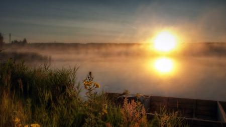 Фото закат, река, туман, пейзаж