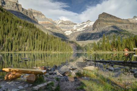 Картинки озеро, горы, скамейка, деревья