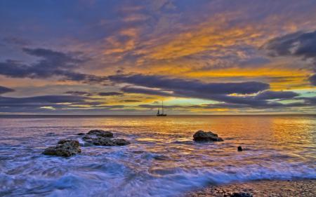 Фотографии закат, море, корабль, пейзаж