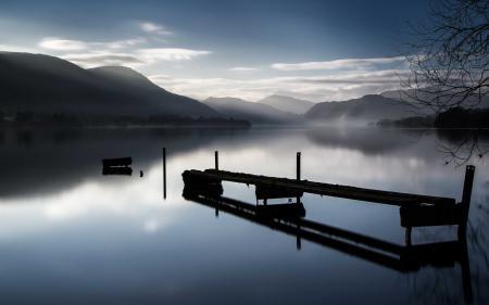 Обои озеро, туман, ночь