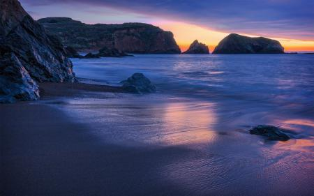Обои пляж, океан, камни, скалы