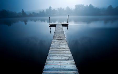 Картинки озеро, мост, туман, пейзаж
