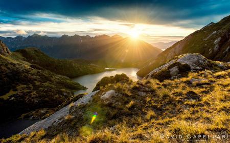 Заставки New Zealand, горы, пейзаж, солнце