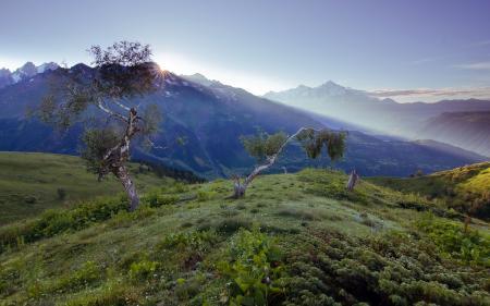 Заставки природа, утро, горы, горизонт