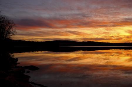 Фото закат, небо, облака, озеро