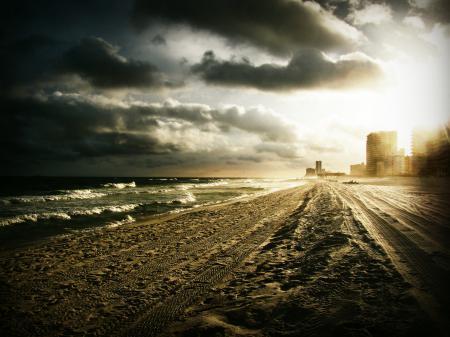 Картинки берег, пляж, следы, море