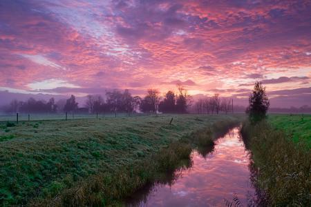 Обои природа, утро, река, канал