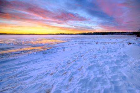 Картинки зима, снег, озеро, закат