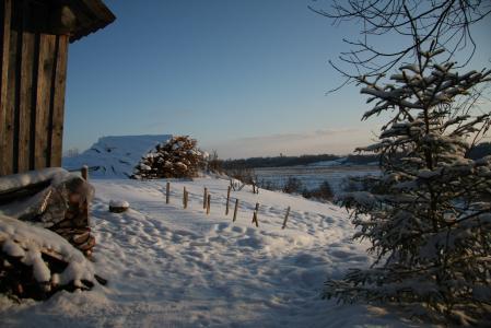 Фото зима, снег, сарай, дрова