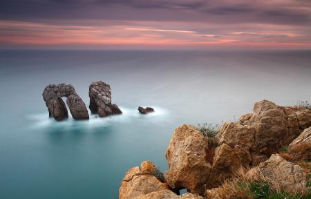 Обои море, океан, гладь, скалы