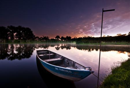 Фото лодка, озеро, вечер, небо