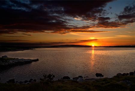 Обои море, залив, вечер, закат
